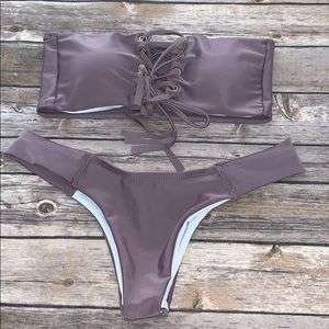 Other - Women's purple strapless bikini set